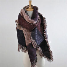 Large Cape Style Scarf Scarves Thick Tartan Wrap Stole Wool Pashmina Shawl UK