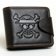 One Piece Monkey•D•Luffy Pirate Skull Logo Leather Wallet Purse Anime Gift