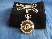 Boston Bruins Ice Hockey Nhl Cromo Reloj De Bolsillo Con Cadena (Nuevo)