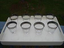 SET OF 8 VINTAGE MID-CENTURY SILVER RIM SHOT GLASSES 4 OUNCES EACH