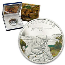 2011 Ivory Coast Large Silver Color Proof 1000 fr Sabre Tooth Tiger- Nice Box
