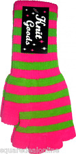 78031 Bright Pink & Green Striped Fingerless Gloves Punk Cute Affordable NEW