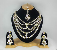 Indian Kundan Jewellery Set Gold Alloy and Rhinestones Clear Stones AQ/214