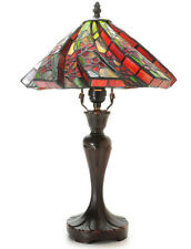 "Table Lamp 17"" High Red Flower Stained Glass Shade Tiffany Style Zinc Alloy Base"