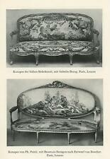 ANTIQUE ROCOCO ORNAMENTAL DECORATION SOFA FURNITURE BENCH GERMAN ART OLD PRINT