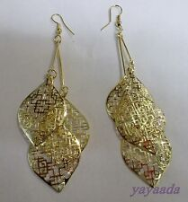 Beautiful Gold Plated Dangle  Hollow Leaves Long Earrings.