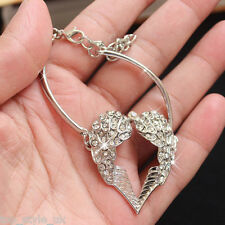 Angel Wings Heart Charm Silver Bracelet Bangle Gifts for Her Women Wife Xmas T1