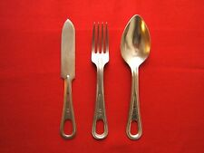 US Military Mess Kit Silverware Utensils - Set of 3 Fork Spoon Knife Vintage