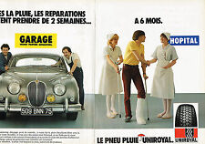 PUBLICITE ADVERTISING 124  1981  UNIROYAL   pneu pluie  ( 2p)