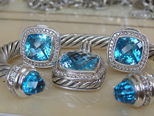 $1950 DAVID YURMAN ,SS ALBION LARGE BLUE TOPAZ DIAMOND ENHANCER
