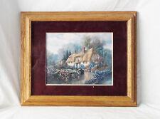 """Carl Valente Cottage Sunset Matted/Wood Framed/Signed Print-17 X 14"""""""