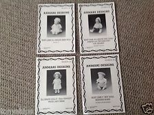 Dolls dress patterns- 4 vintage knitting patterns for small all bisque dolls
