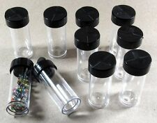 "Clear Plastic Bead Storage Vial Tube Containers 7/8"" x 2 1/4"""" (Set of 10)"
