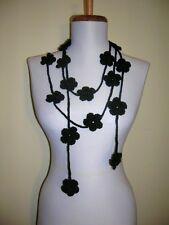 Crochet  Black  Flowers  Lariat/Scarf/Scarflette/Necklace,Jewelry,Women,Girls
