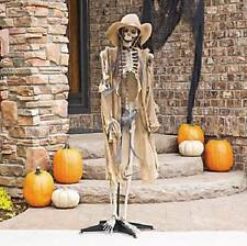 "Life Size Standing Cowboy Skeleton Prop W Lighted Eyes Halloween Decoration 60""H"