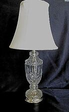 CLEAR CUT GLASS TABLE LAMP with SHADE - Pretty Diamond Pattern with Gold Trim