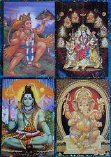 Hindu Postcard Set (4) SHIVA GANESH DURGA HANUMAN