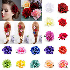 Bridal Rose Flower Hairpin Brooch Wedding Bridesmaid Party Hair Clip RED