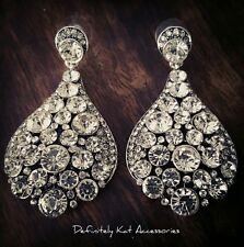 Stunning large white crystal chandelier bling cocktail statement stud earrings