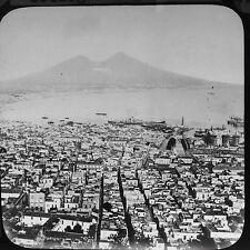 Magic Lantern Slide Vintage Vesuvius And Bay Of Naples Italy Italian History