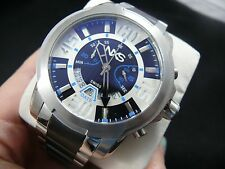 NXS Geiger Mens Swiss Chronograph Watches 14049 Stainless Steel Black White Blue
