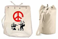 BANKSY CND SOLDIERS DUFFLE BAG College Rucksack Gym Beach Backpack Sports