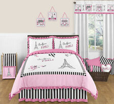Sweet Jojo Designs Pink & Black Paris France Full Queen Girls Modern Bedding Set