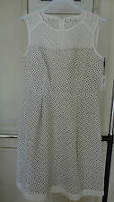 NWT Calvin Klein White Khaki Women's Eyelet Sheath Dress Size 10 Really Pretty!