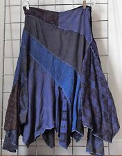 NWT Sacred Thread Purple Patch Asymmetrical Hem Hippie Skirt S Check measurement