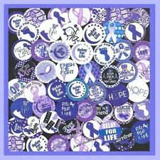 100 Pre-Cut assorted RELAY FOR LIFE Cancer AWARENESS 1 inch BOTTLE CAP IMAGES