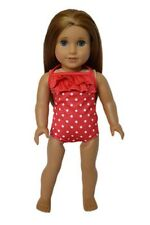 """Doll Clothes AG 18"""" Bathing Suit Red White Sunglasse Fits American Girl Dolls"""
