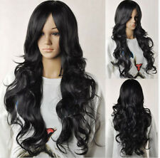 Women Long Wave Curly Synthetic Cosplay Wig Lolita Hair Black Wigs +Wig Cap