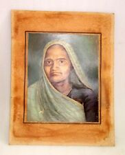Antique Old Collectible Original Rare Indian Tribal Women Portrait Oil Painting