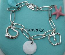 Tiffany & Co. Elsa Peretti 5 Charm Bracelet 925 Sterling Silver 7-1/4 Inches