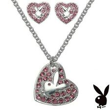 Playboy Jewelry Set Necklace Earrings Bunny Heart Pink Crystal MOTHER'S DAY GIFT