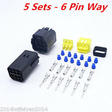 5 Sets 6 Pin Way Amp Sealed Waterproof Wire Connector Plug Terminal Set Car Van
