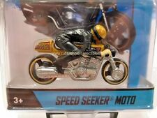 2014 Hot Wheels Speed Seeker Moto Motorcycle in Gold with Rider