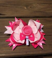 Hair Bow Hot Pink With Lollipop Double Prong Clip