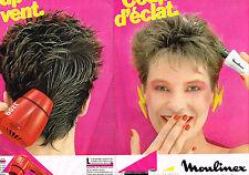 PUBLICITE  1980   MOULINEX  du souffle pour les cheveux ( 2 pages)