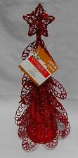 "Christmas Tree Decor Wire & Plastic Cone Celebrate It Red Glitter 13"" x 6"" 12X"