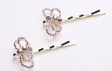 TRANSPARENT BEAD & DIAMANTE BUTTERFLY ON SILVER METAL HAIR SLIDE X 2 (ZX46)