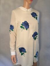 White Floral Blue Embroidered Tunic Shirt Dress  size 10 Woman's New