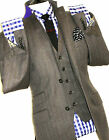 LUXURY MENS TED BAKER ENDURANCE 3 PIECE HERRINGBONE STRIPEY SUIT 40R W34 X L32