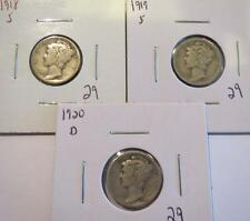 Mercury Silver Dimes 1918S, 1919S & 1920D Lot 29