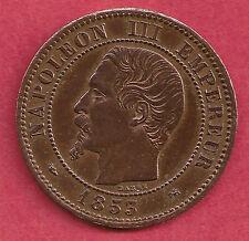 RARE 2 CENTIMES NAPOLEON III BRONZE 1853 D LYON PETIT D ET PETIT LYON