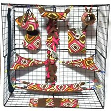 Fuchsia Diamond  *15 PC Sugar Glider Cage set * Rat * double layer Fleece
