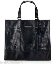 Juicy Couture Perforated LeAnn Leather Black Tote Shoulder Bag XL $378