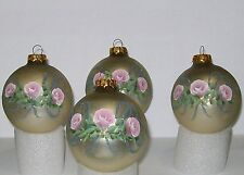 4 Vintage 1994 Hand Painted Victorian Christmas Tree Ornaments Pink Roses