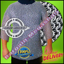 ALUMINIUM CHAINMAIL SHIRT BUTTED CHAINMAIL HAUBERGEON MEDIEVAL ARMOUR r13