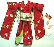 Barbie Fashion Ensemble Japanese Kimono Red Gown For Barbie Dolls hf00